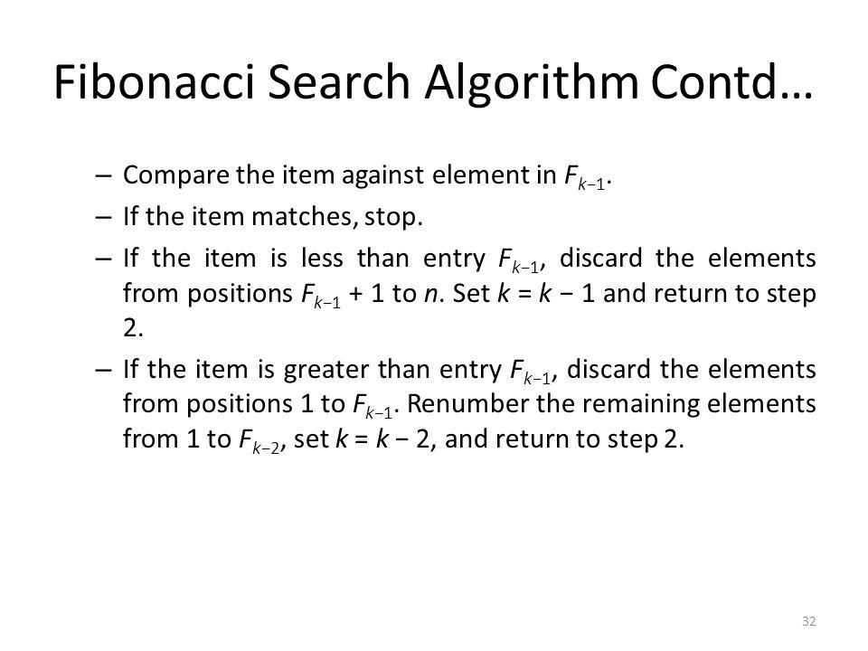 Fibonacci Search Algorithm Contd…