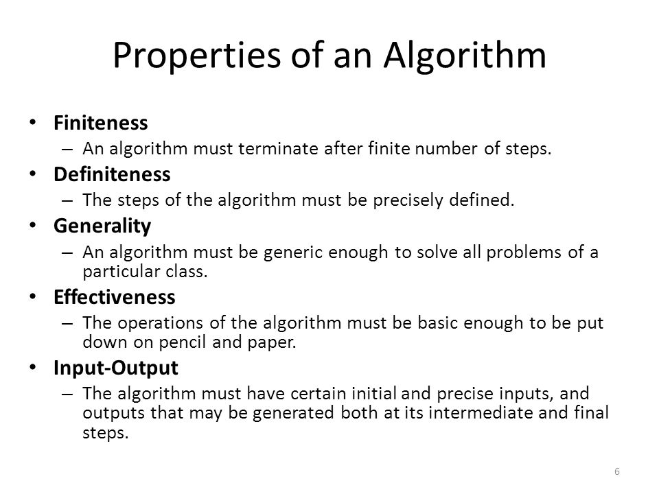 Properties of an Algorithm