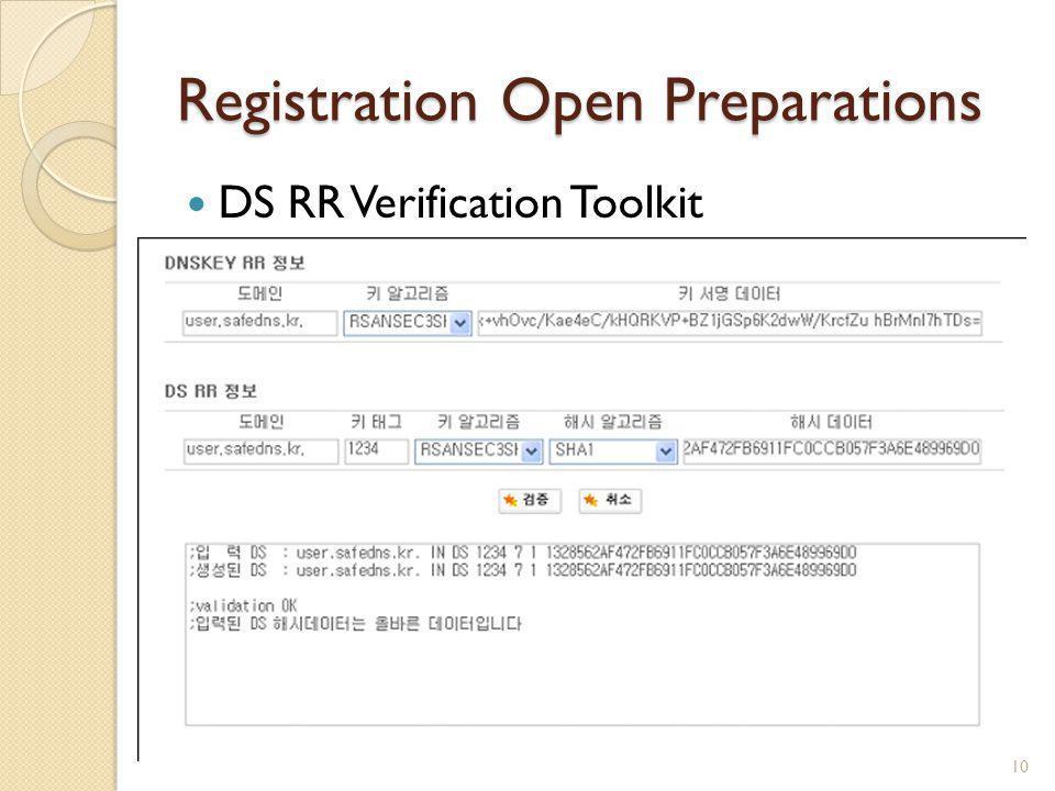Registration Open Preparations