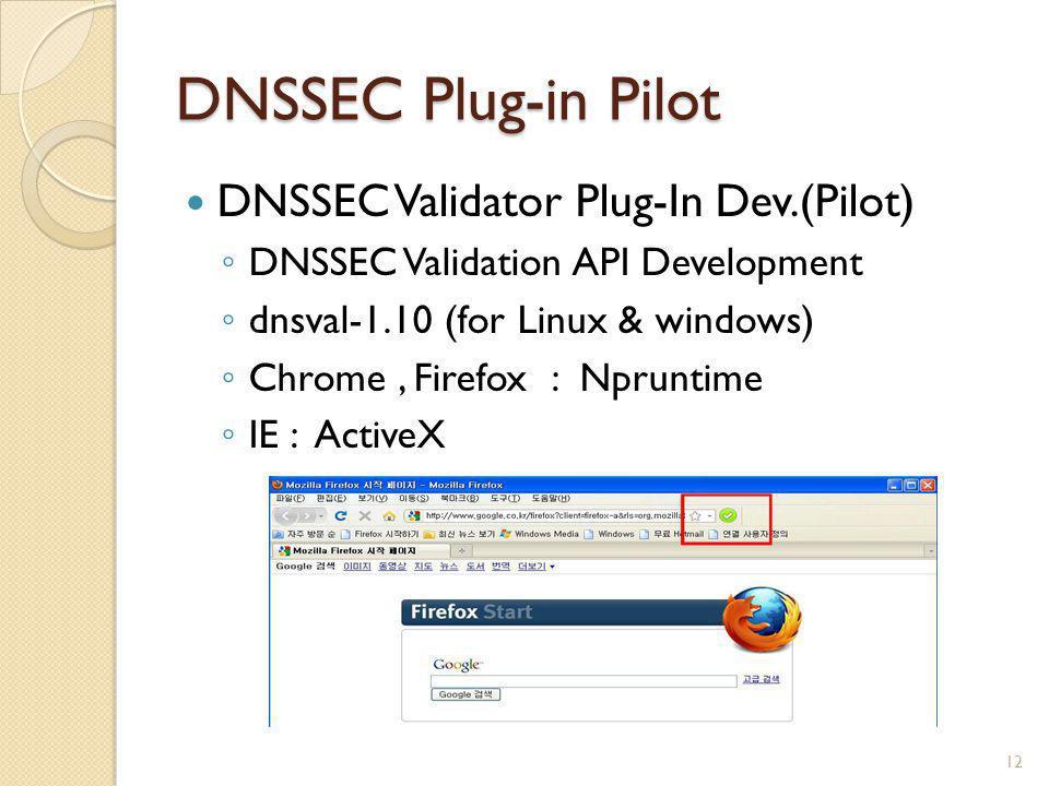 DNSSEC Plug-in Pilot DNSSEC Validator Plug-In Dev.(Pilot)