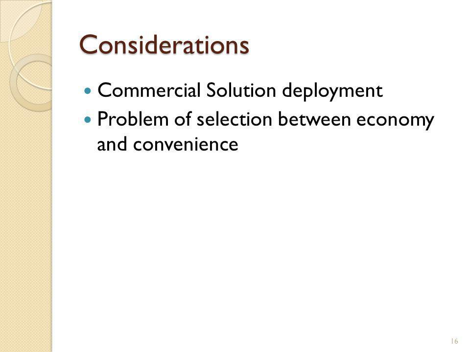 Considerations Commercial Solution deployment