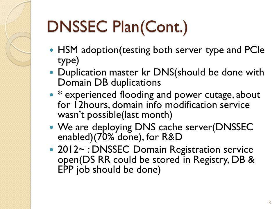 DNSSEC Plan(Cont.) HSM adoption(testing both server type and PCIe type) Duplication master kr DNS(should be done with Domain DB duplications.