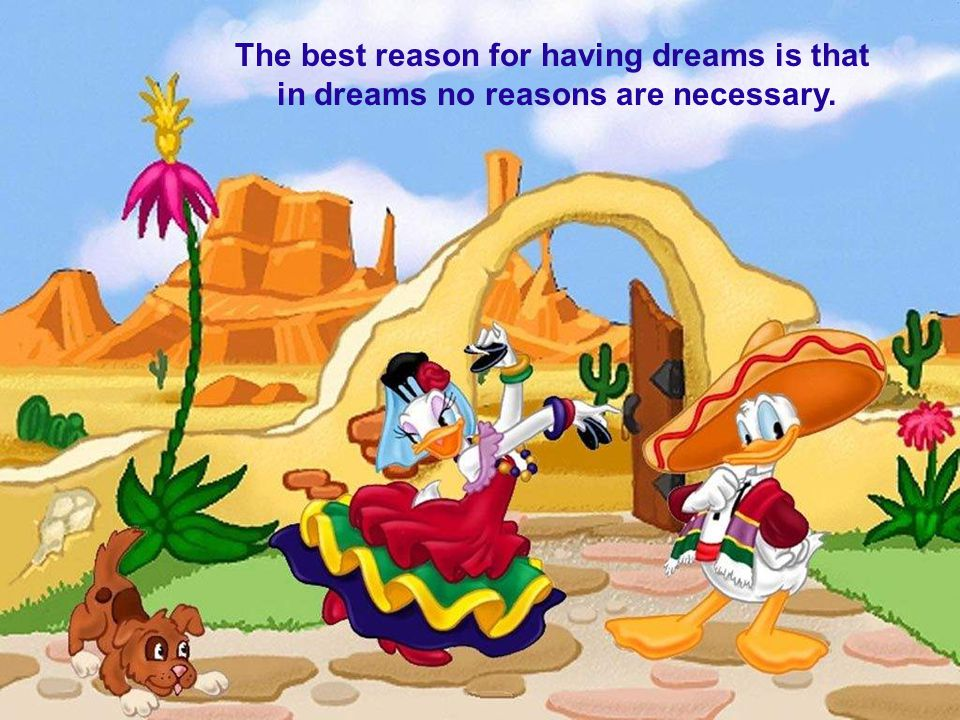 The best reason for having dreams is that