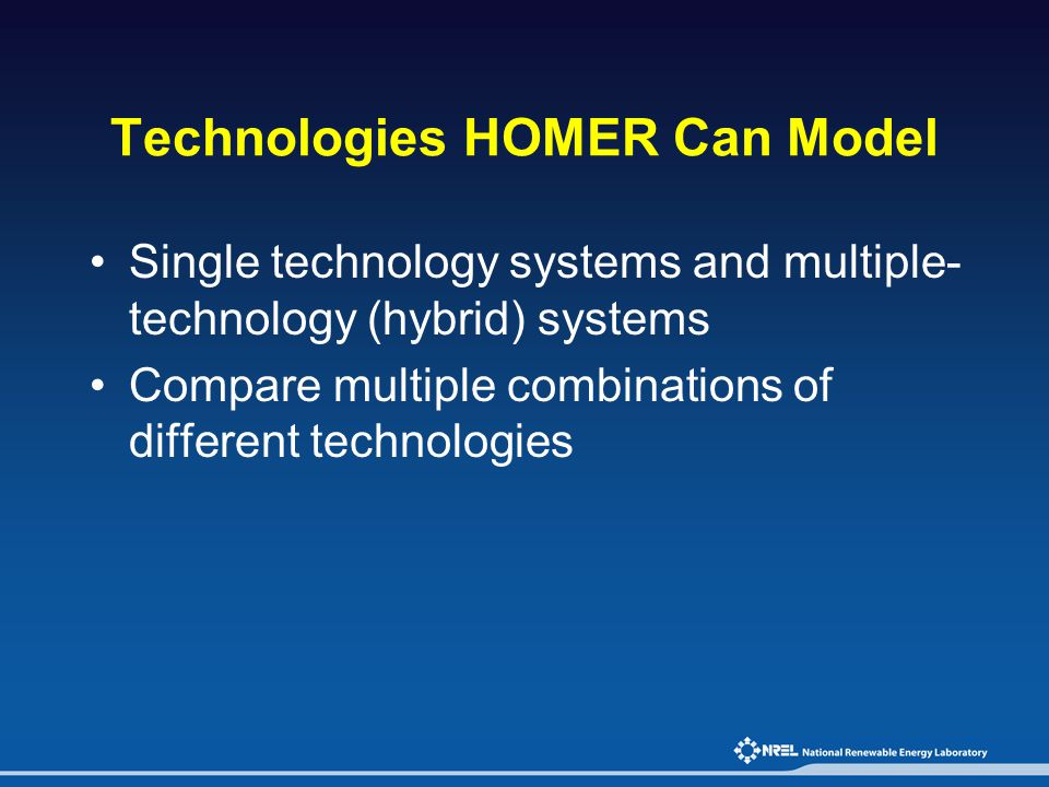 Technologies HOMER Can Model