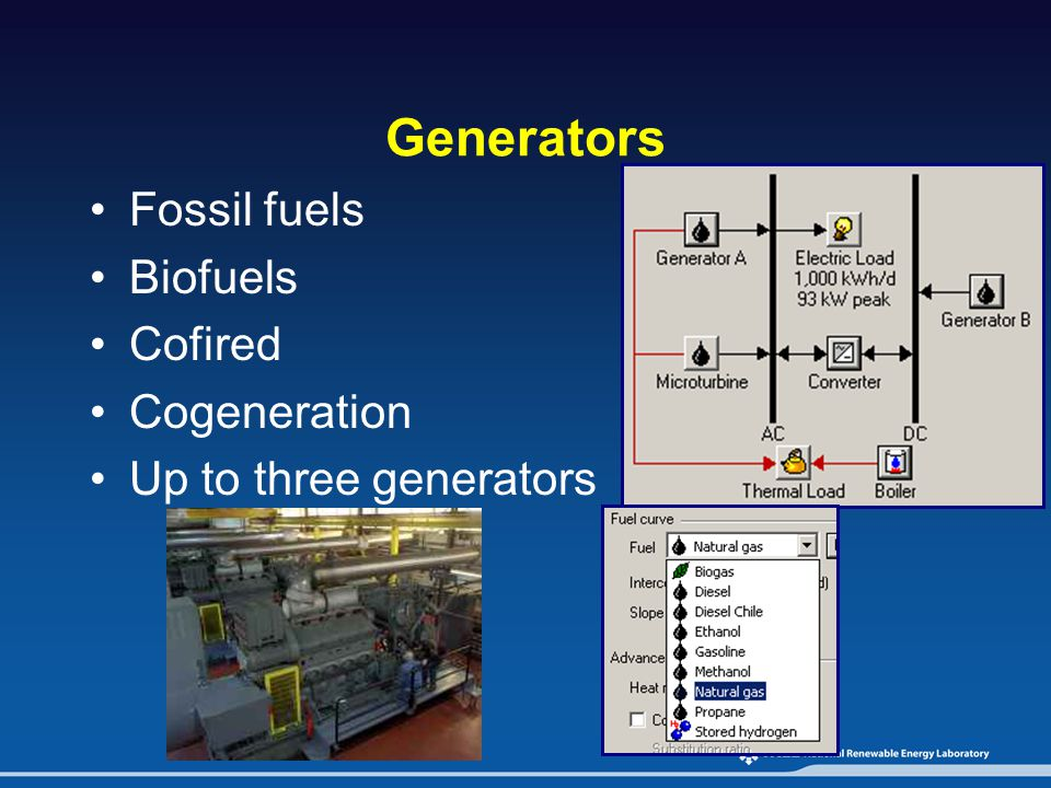 Generators Fossil fuels Biofuels Cofired Cogeneration