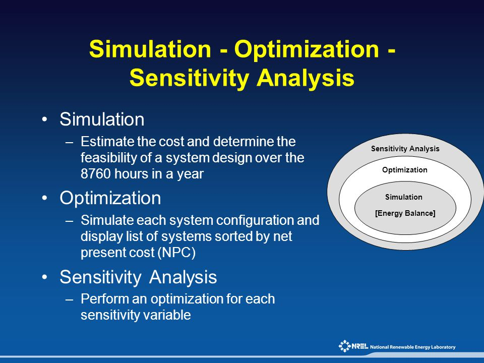 Simulation - Optimization - Sensitivity Analysis