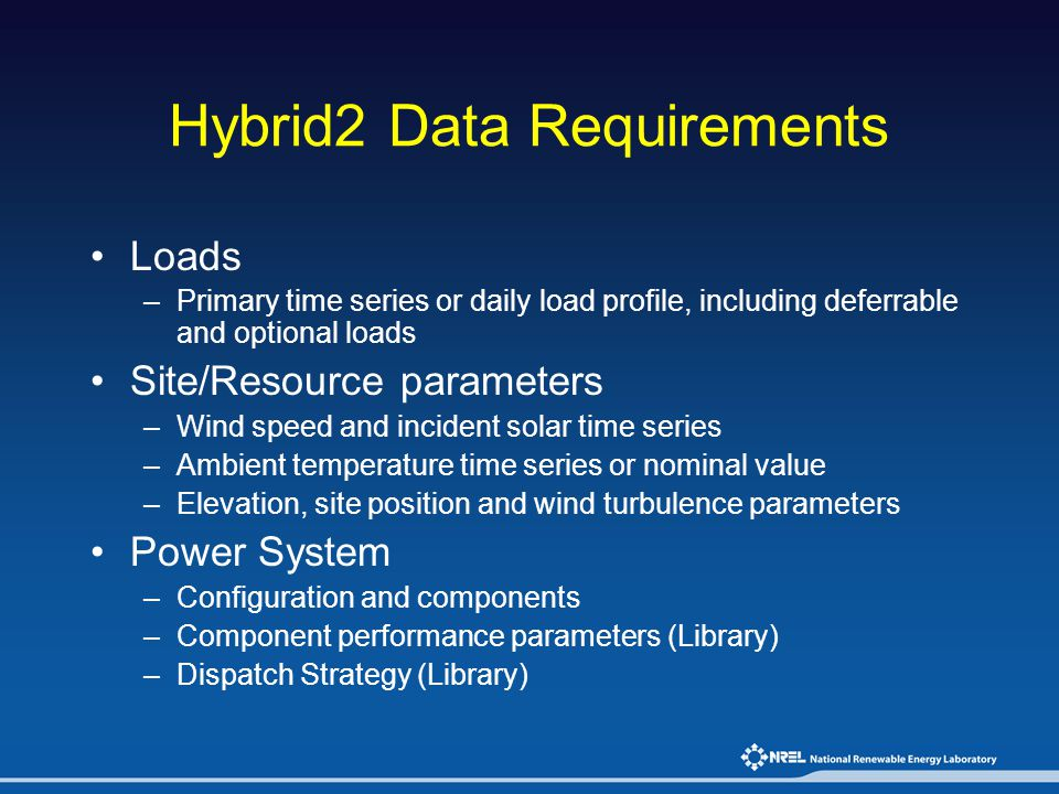 Hybrid2 Data Requirements