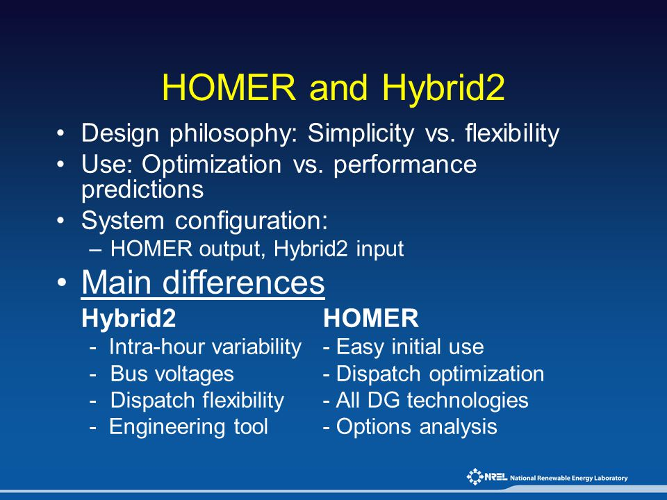 HOMER and Hybrid2 Main differences