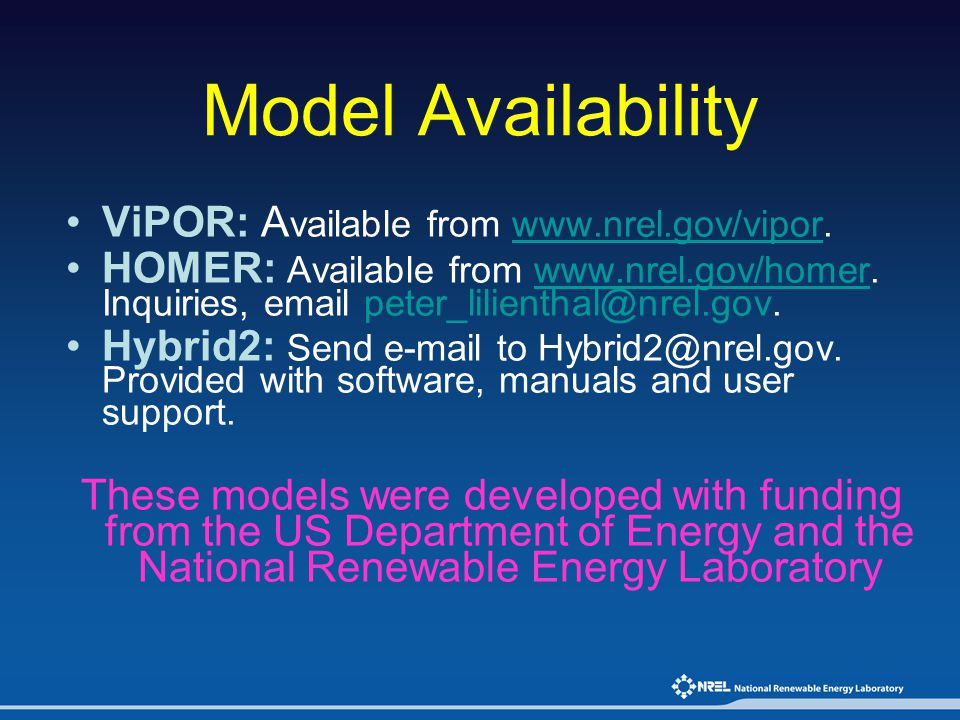 Model Availability ViPOR: Available from www.nrel.gov/vipor.