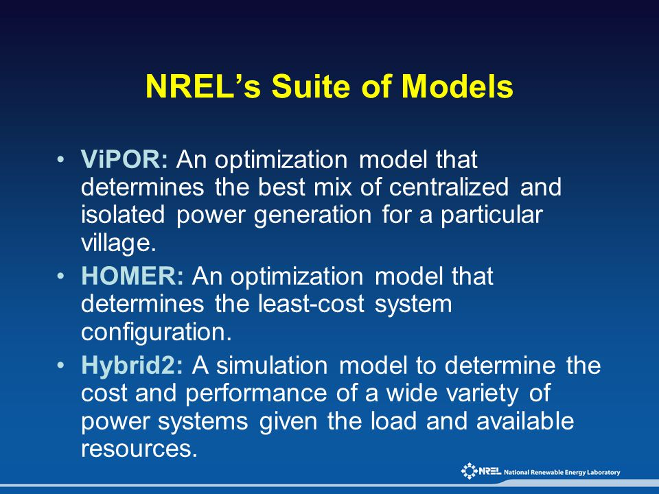 NREL's Suite of Models