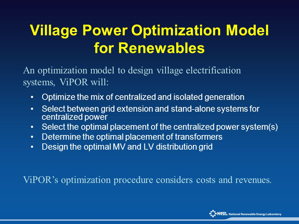Village Power Optimization Model for Renewables