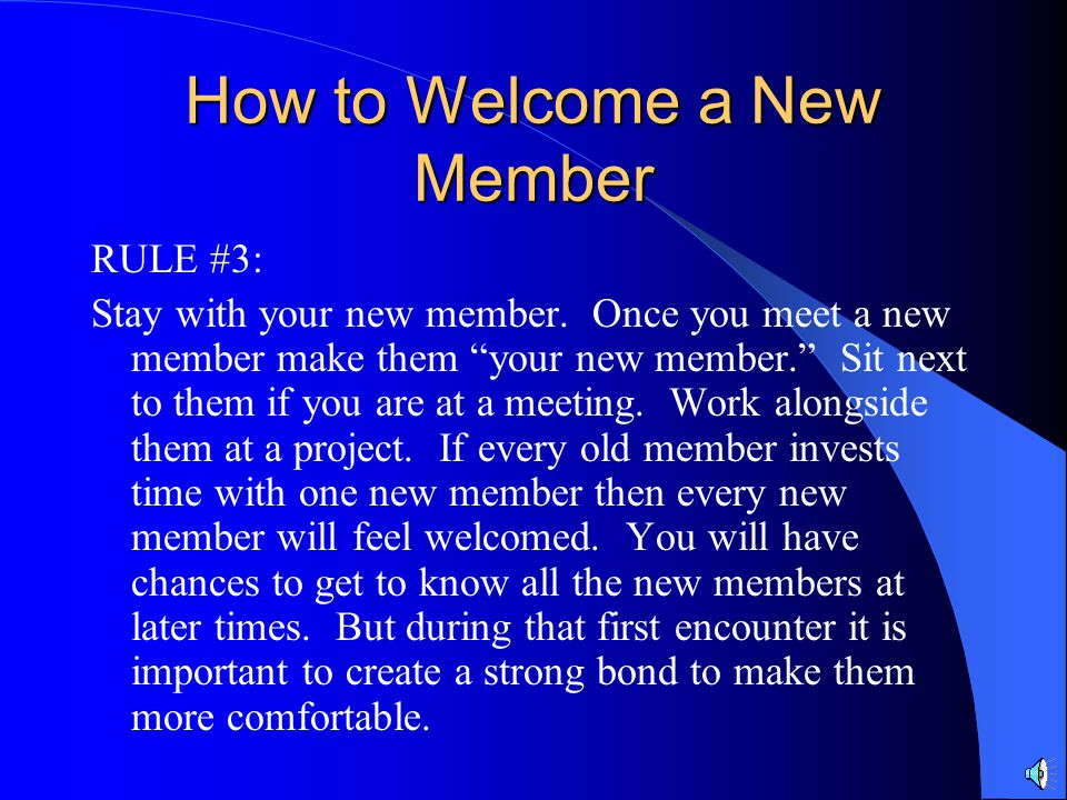 How to Welcome a New Member