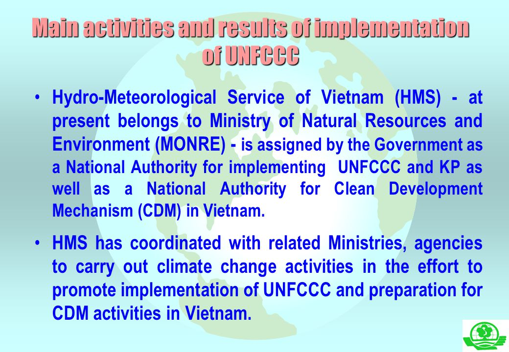Main activities and results of implementation of UNFCCC
