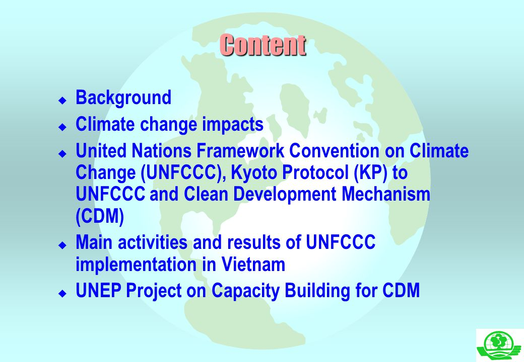 Content Background Climate change impacts