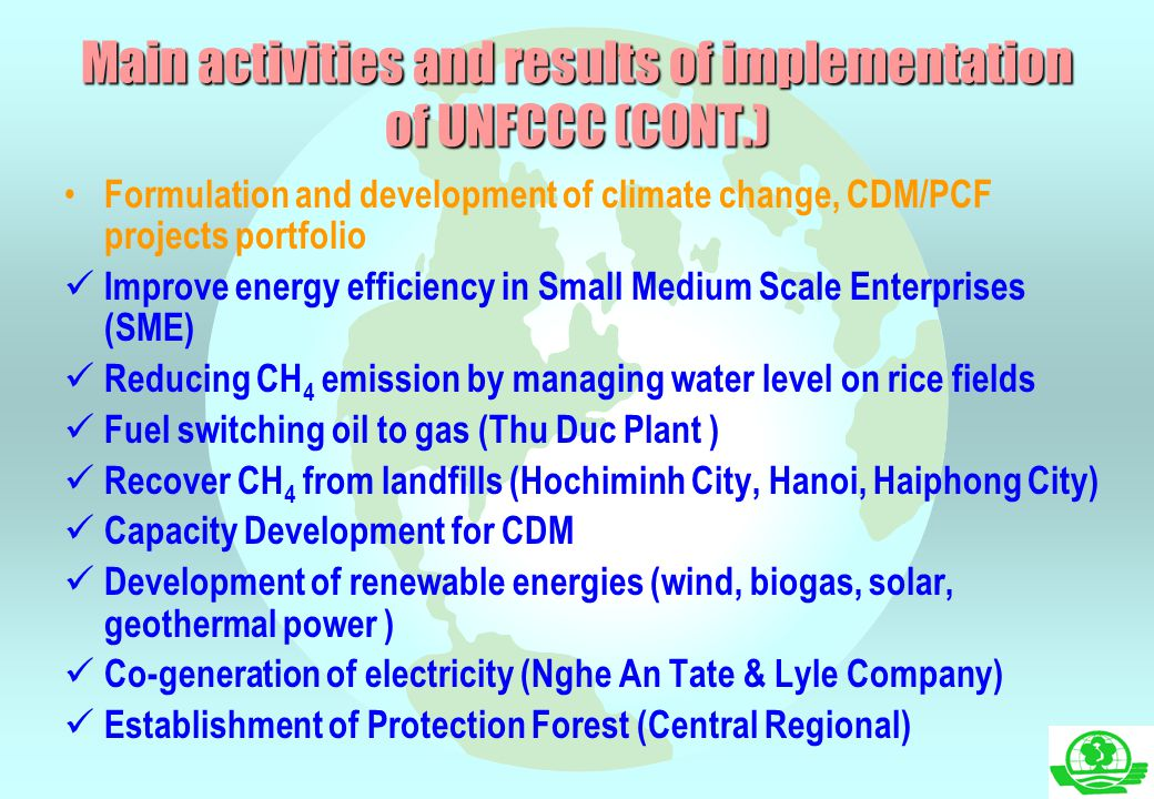 Main activities and results of implementation of UNFCCC (CONT.)