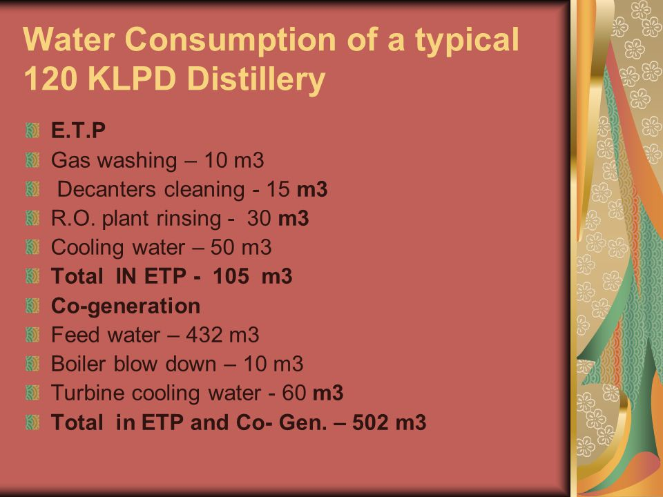 Water Consumption of a typical 120 KLPD Distillery