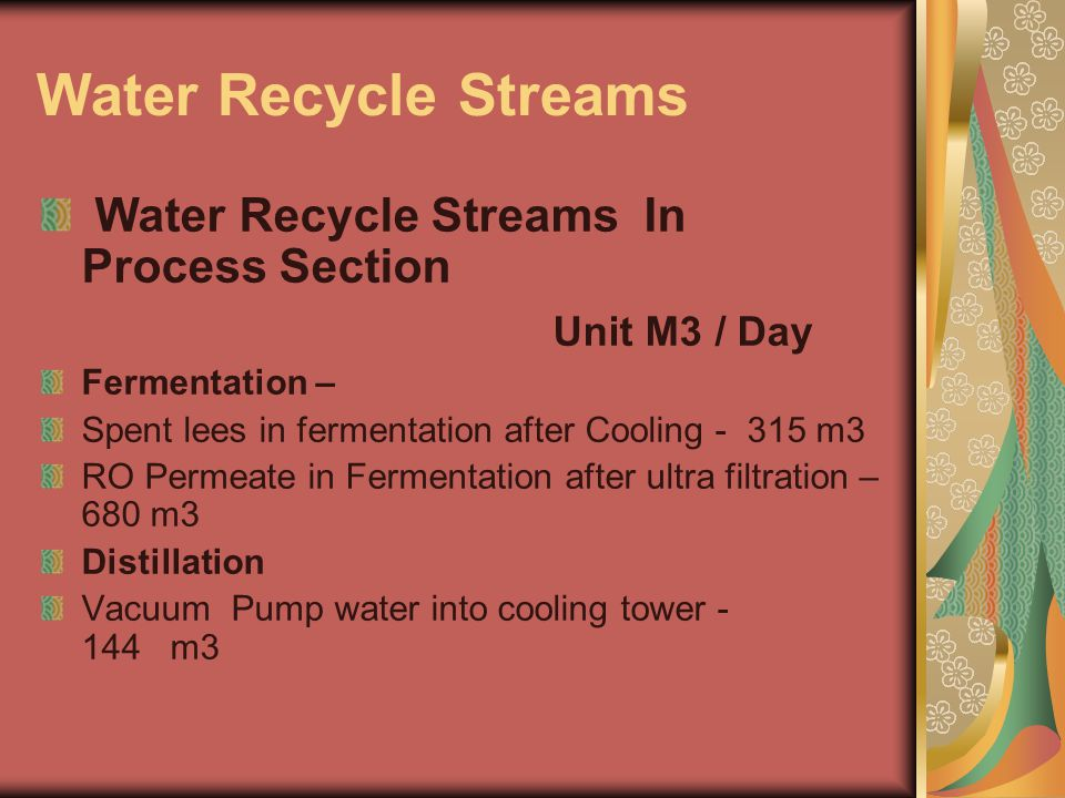 Water Recycle Streams Water Recycle Streams In Process Section