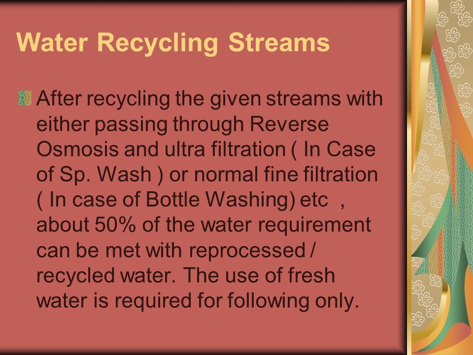 Water Recycling Streams