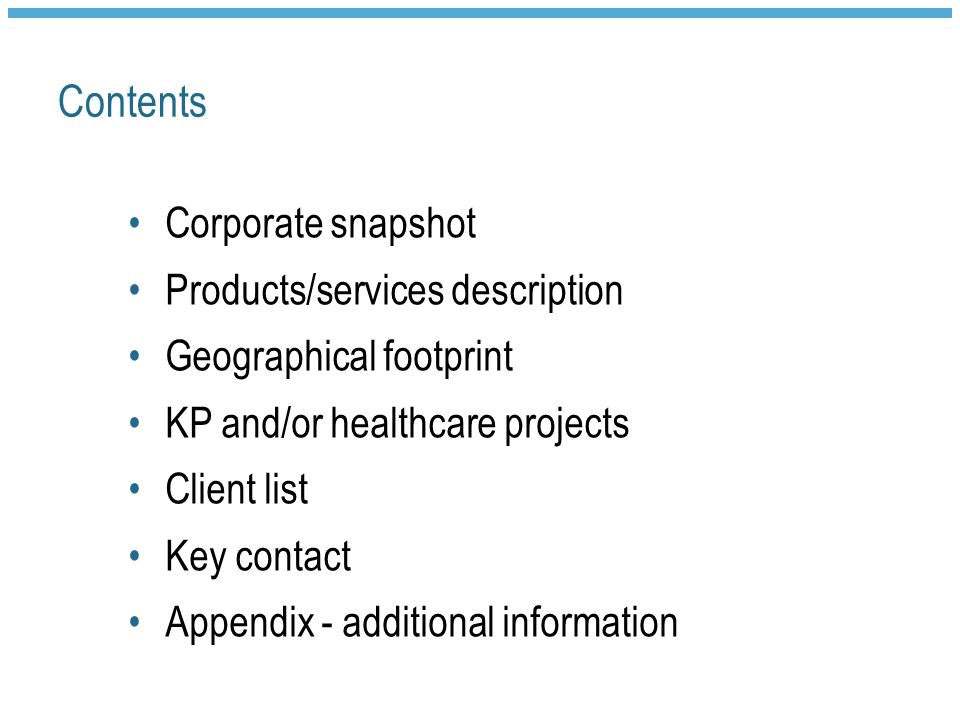 Contents Corporate snapshot Products/services description