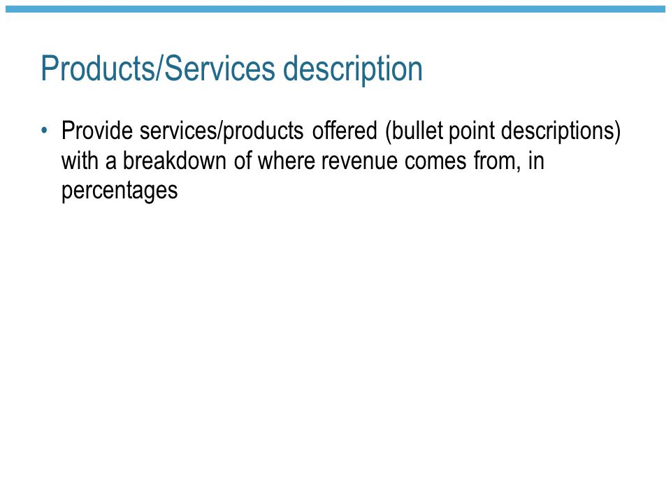 Products/Services description