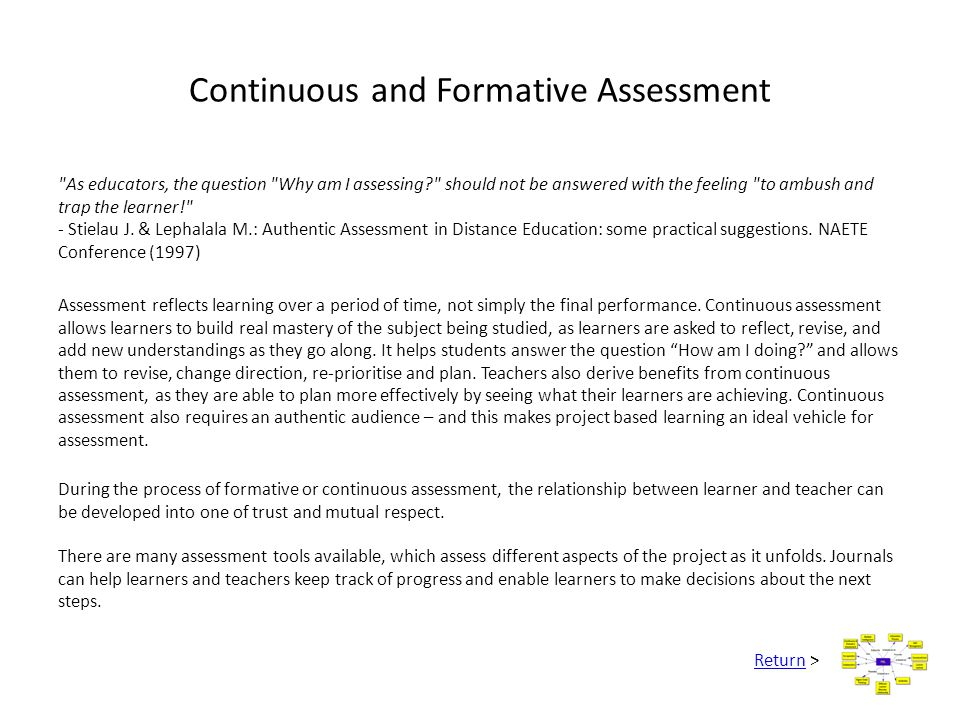 Continuous and Formative Assessment