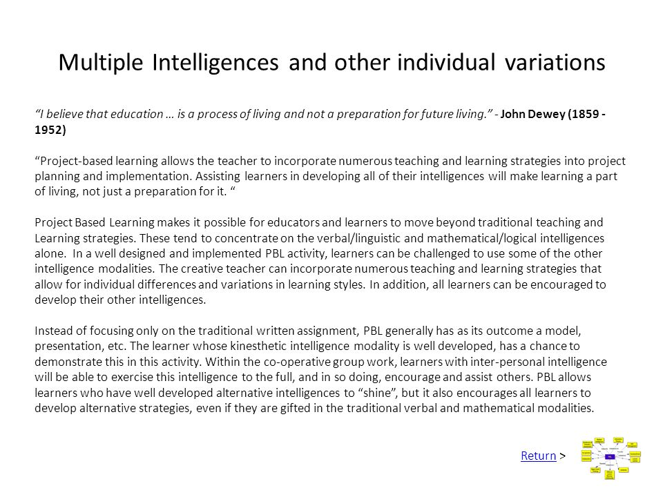 Multiple Intelligences and other individual variations