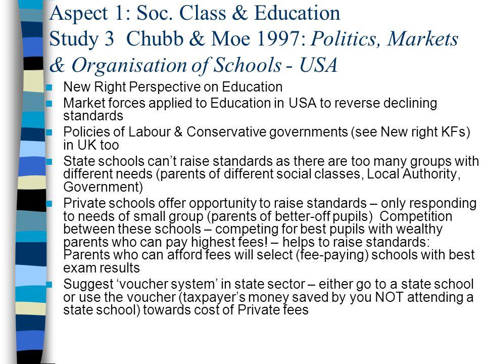 Aspect 1: Soc. Class & Education Study 3 Chubb & Moe 1997: Politics, Markets & Organisation of Schools - USA
