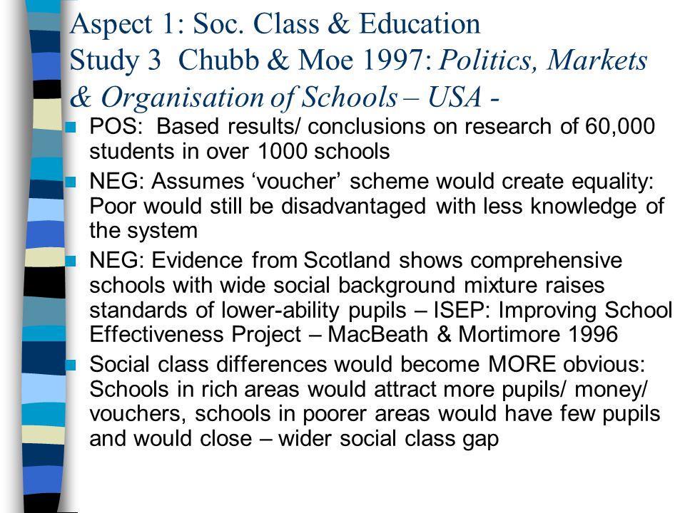 Aspect 1: Soc. Class & Education Study 3 Chubb & Moe 1997: Politics, Markets & Organisation of Schools – USA -