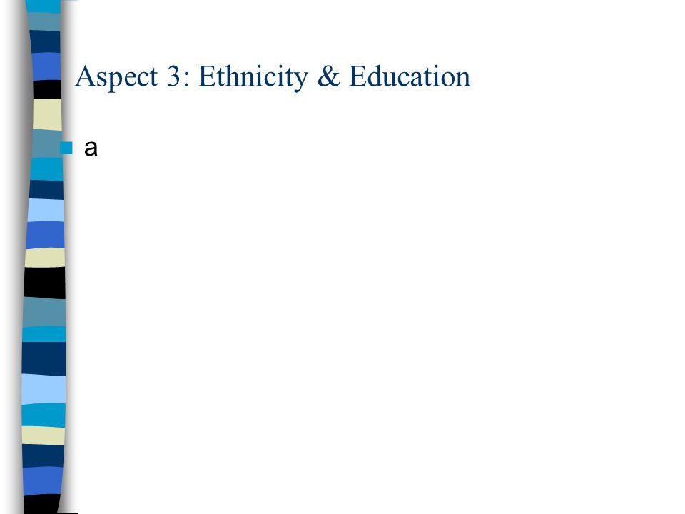 Aspect 3: Ethnicity & Education