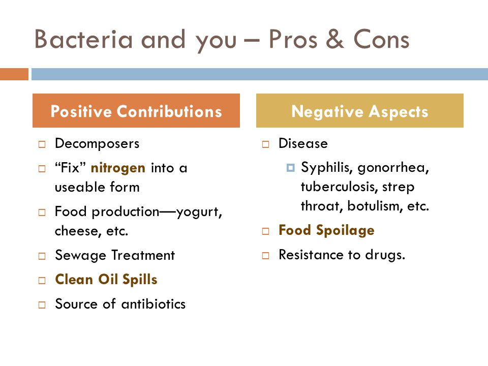 Bacteria and you – Pros & Cons