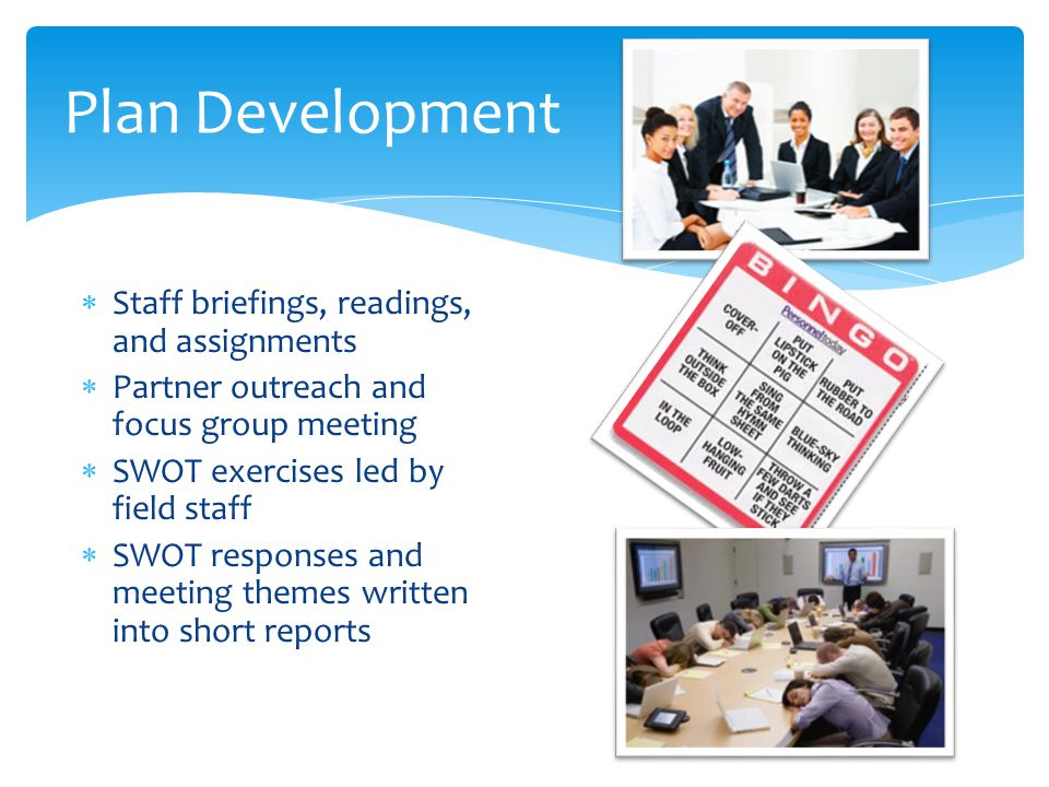 Plan Development Staff briefings, readings, and assignments
