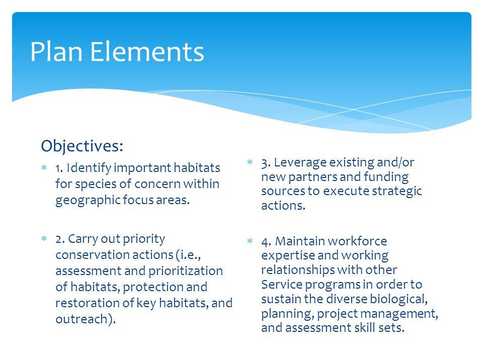 Plan Elements Objectives: