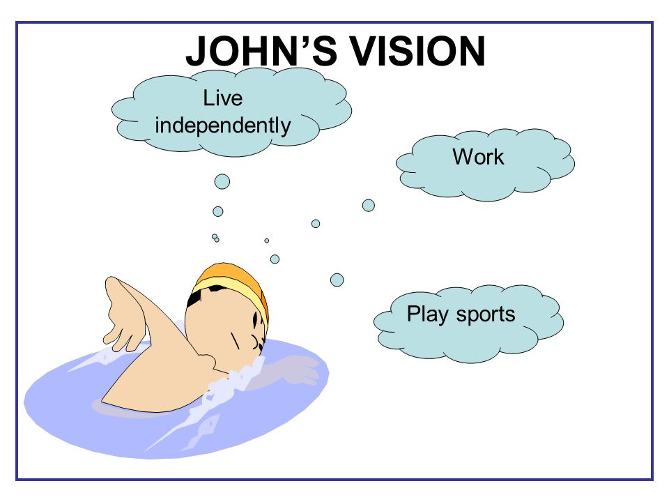 JOHN'S VISION Live independently Work Play sports