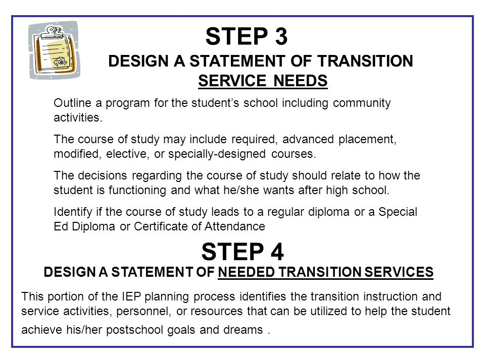 STEP 3 STEP 4 DESIGN A STATEMENT OF TRANSITION SERVICE NEEDS