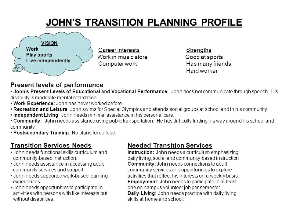 JOHN'S TRANSITION PLANNING PROFILE