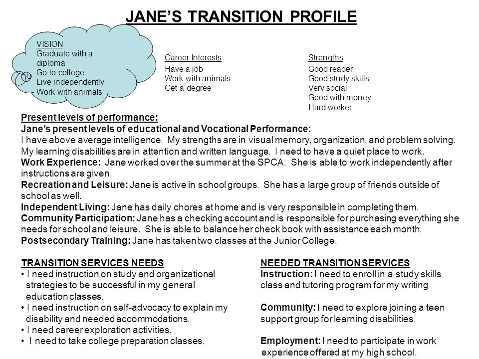 JANE'S TRANSITION PROFILE
