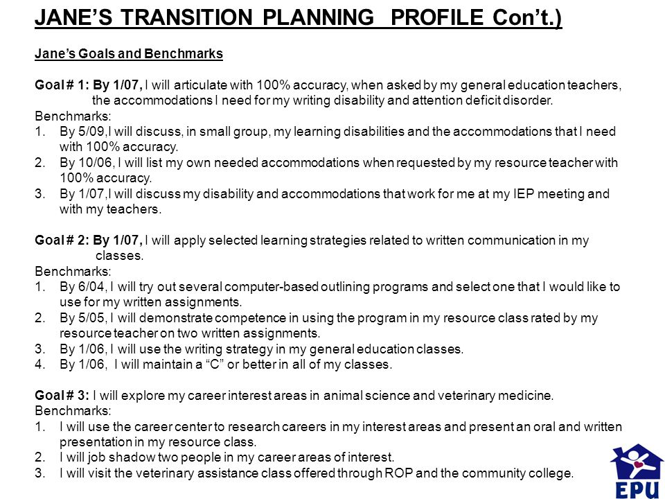 JANE'S TRANSITION PLANNING PROFILE Con't.)
