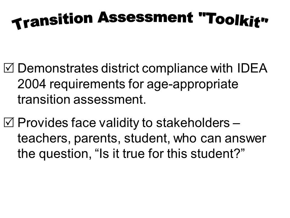 Transition Assessment Toolkit