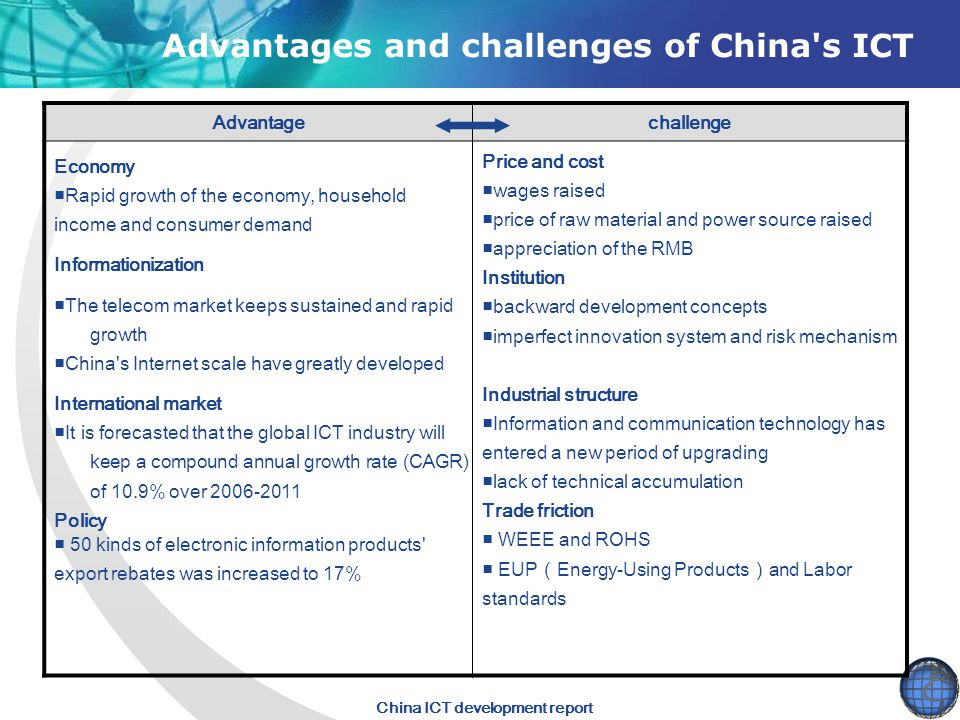 Advantages and challenges of China s ICT