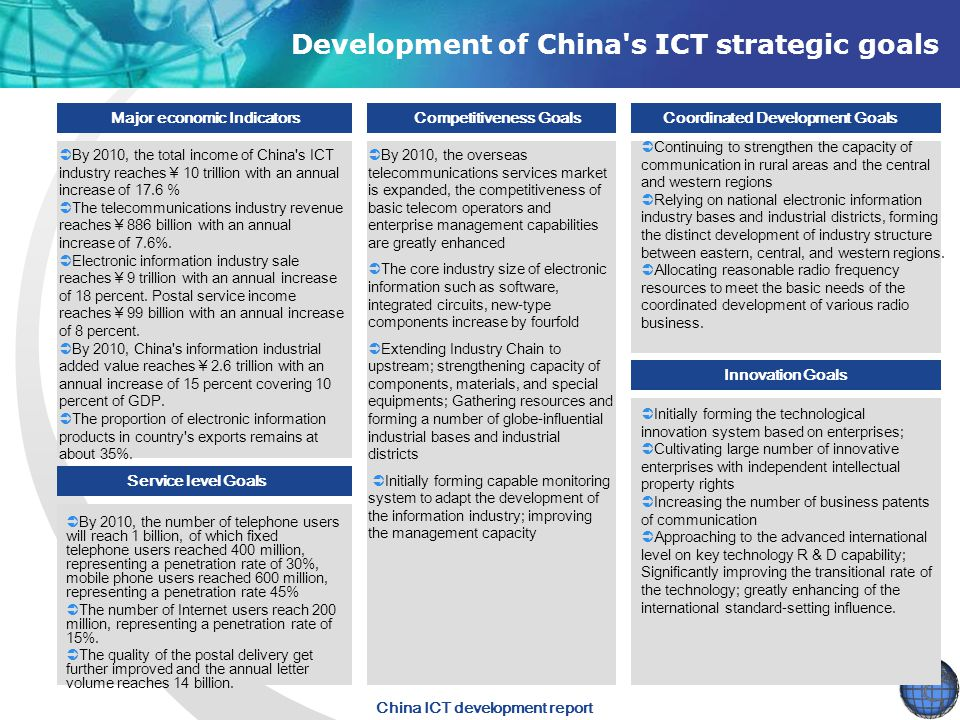 Development of China s ICT strategic goals