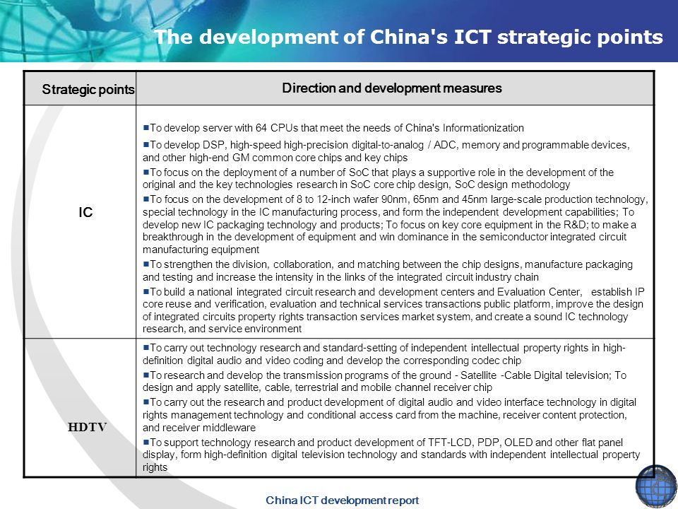 The development of China s ICT strategic points