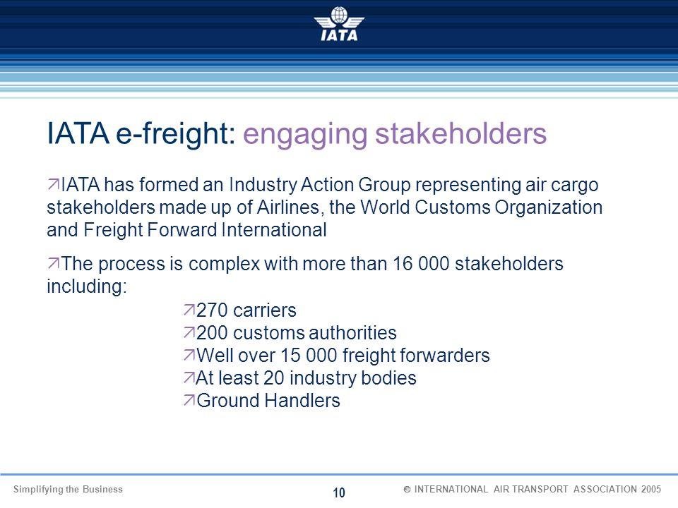 IATA e-freight: engaging stakeholders