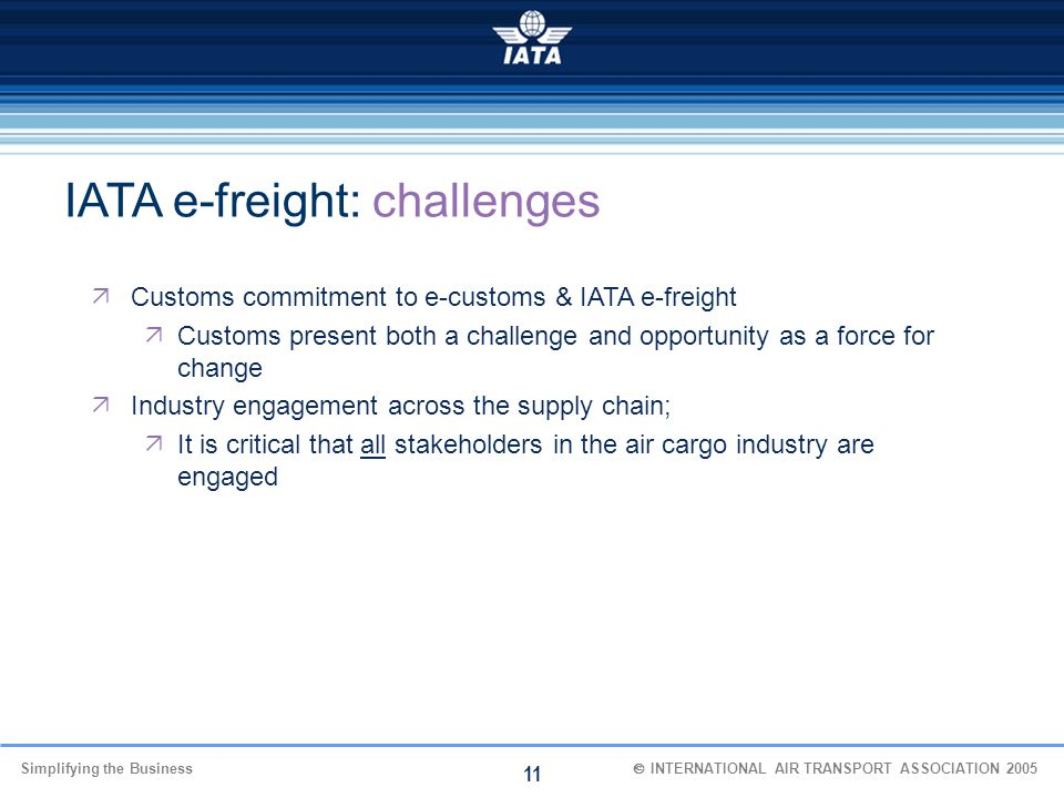 IATA e-freight: challenges