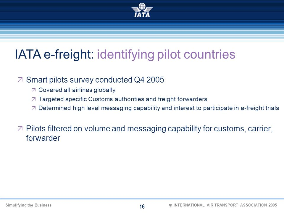 IATA e-freight: identifying pilot countries