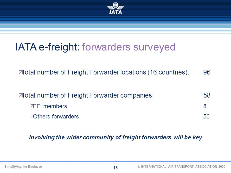Involving the wider community of freight forwarders will be key