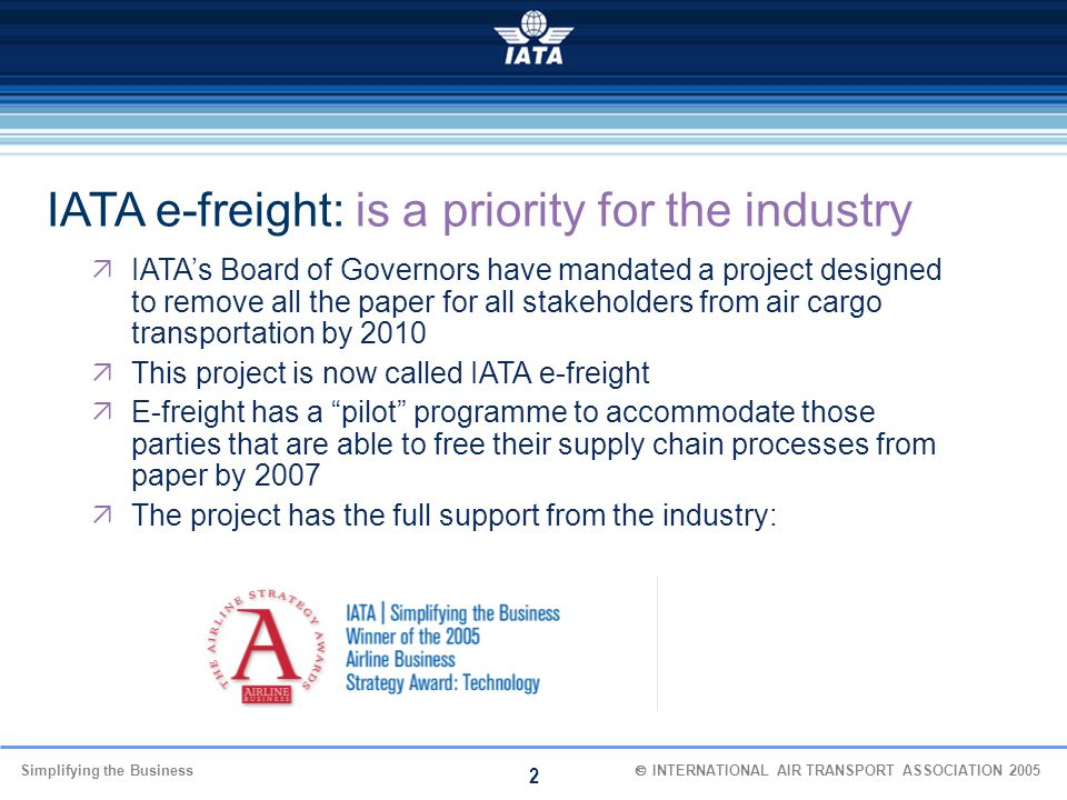 IATA e-freight: is a priority for the industry