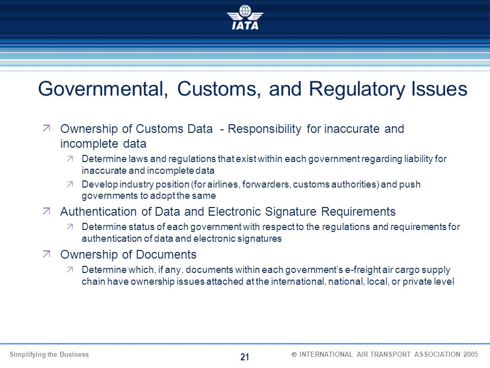 Governmental, Customs, and Regulatory Issues
