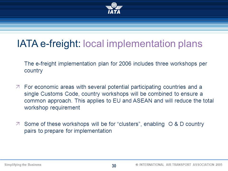 IATA e-freight: local implementation plans