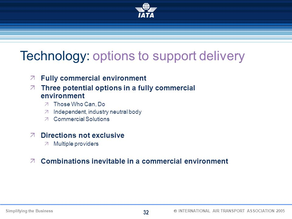 Technology: options to support delivery