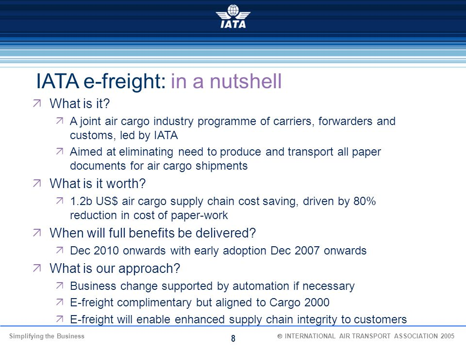 IATA e-freight: in a nutshell